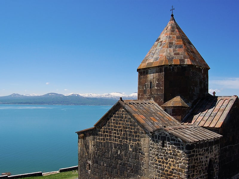 Armenia church by ocean