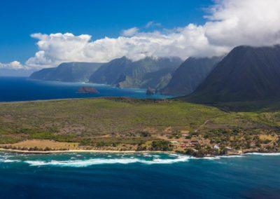 Molokai Kalaupapa Coast aerial